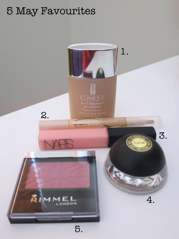 My 5 favourite beauty product from the month of May, including Clinique, Maybelline, Nars, Sigma and Rimmel