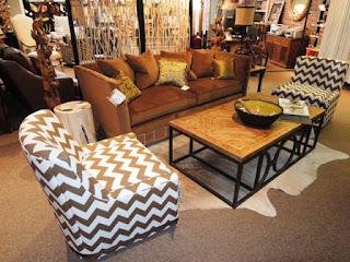 Chevron, fabric, nailhead trim, artisan-made furniture, North Carolina