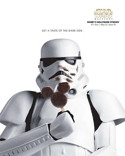 Stormtrooper enjoying a Mickey ice cream bar.