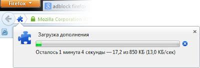 окно загрузки расширений в браузере Firefox
