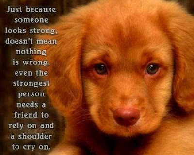 Just because someone looks strong, doesn't mean nothing is wrong, even the strongest person needs a friend to rely on and a shoulder to cry on.