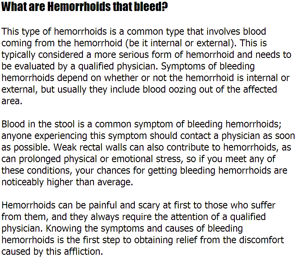Hemroids Bleeding What Are Hemorrhoids That Bleed