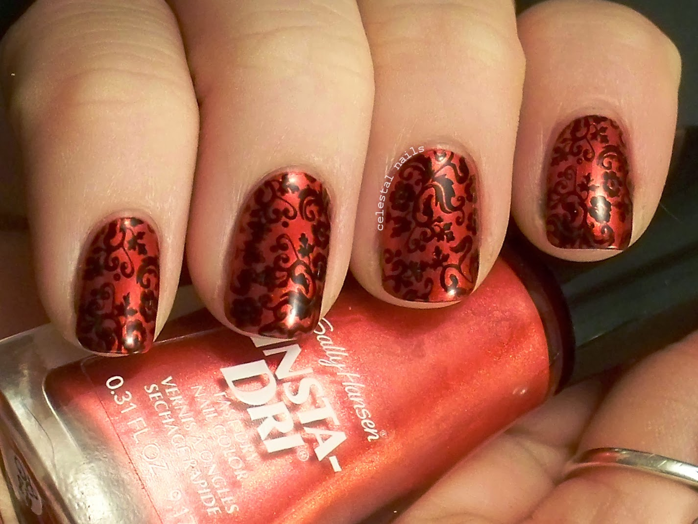Damask Nail Art Celestal Nails