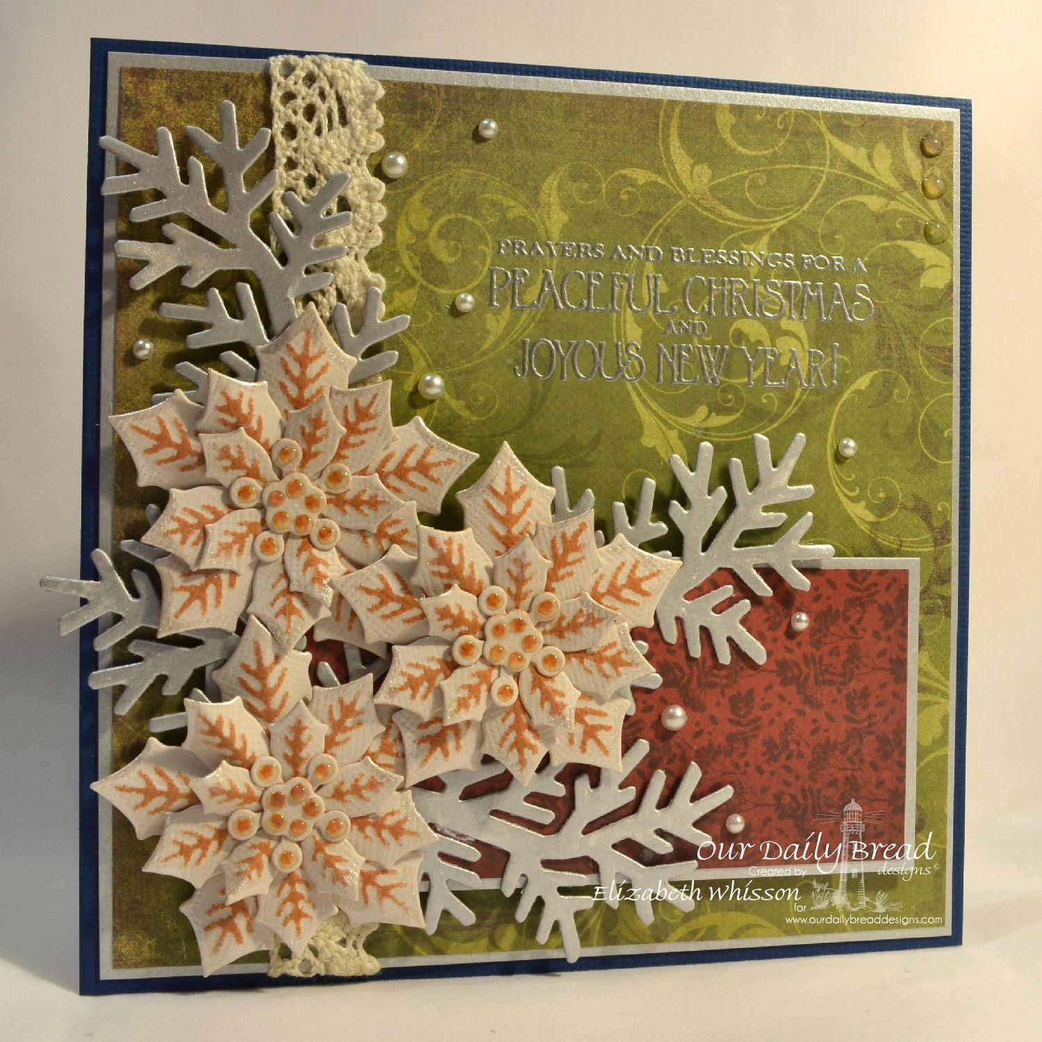 Our Daily Bread Designs, Elizabeth Whisson, ODBD Peaceful Poinsettias Dies, ODBD Fancy Foliage Dies, Christmas card, handmade, Christmas Door