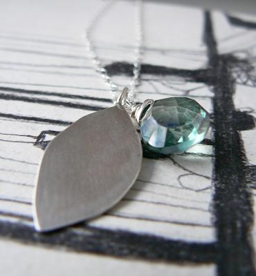topaz spring leaf necklace