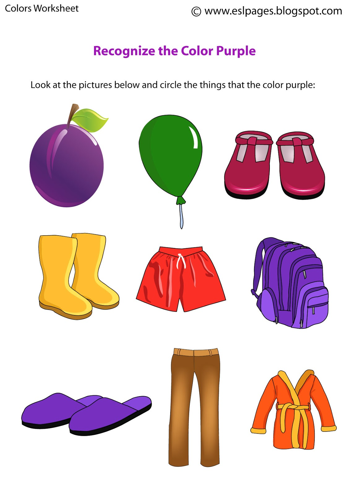 Colors Worksheets