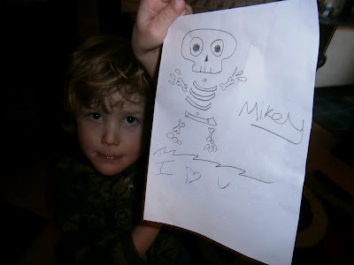 boy with cute hand drawn skeleton
