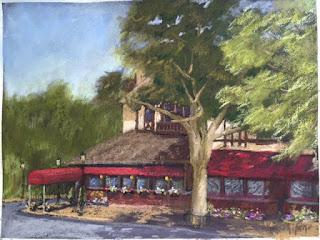 Niagara falls building, pastel painting, k Schifano