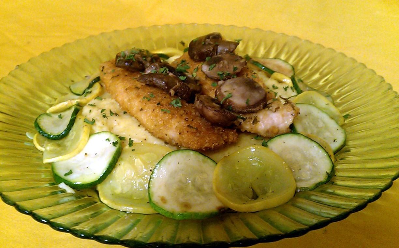 Kissing the Cook: Polenta Parmesan with Lemon Chicken Scampi