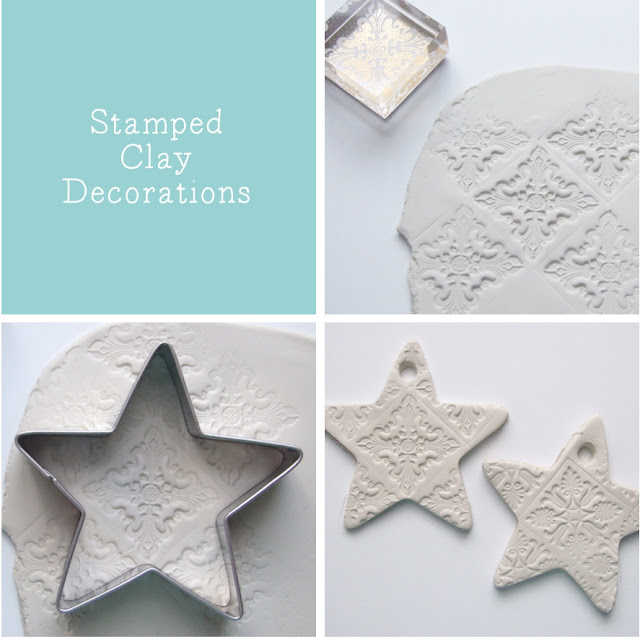 stamped clay stars made from air hardening clay