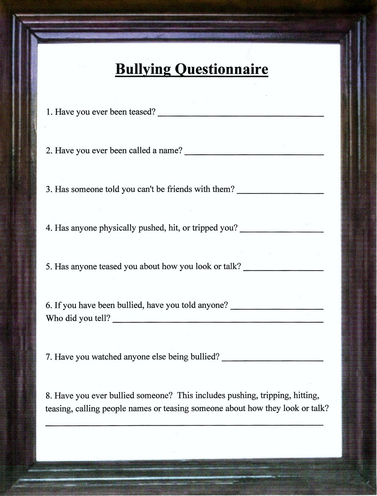 Character Education: Bullying Questionnaire & My Name Is; Bully 8