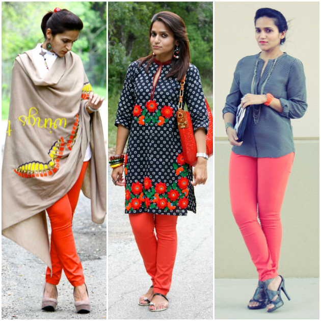 Three Ways To Style Orange Jeans, Tanvii.com