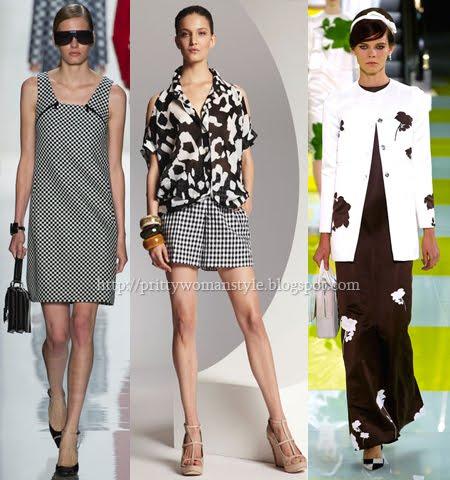 Черно-бели принтове за дамска мода пролет-лято 2013