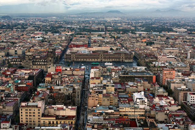 aerial view mexico city zocalo