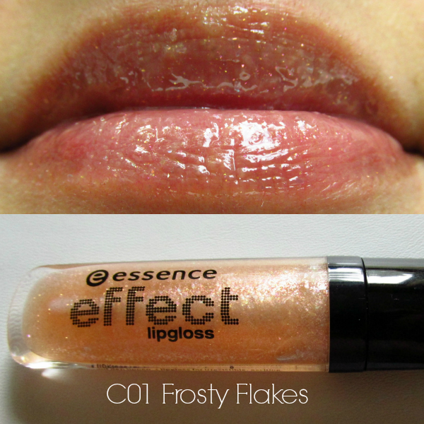 essence effect ligloss c01 frosty flakes swatch