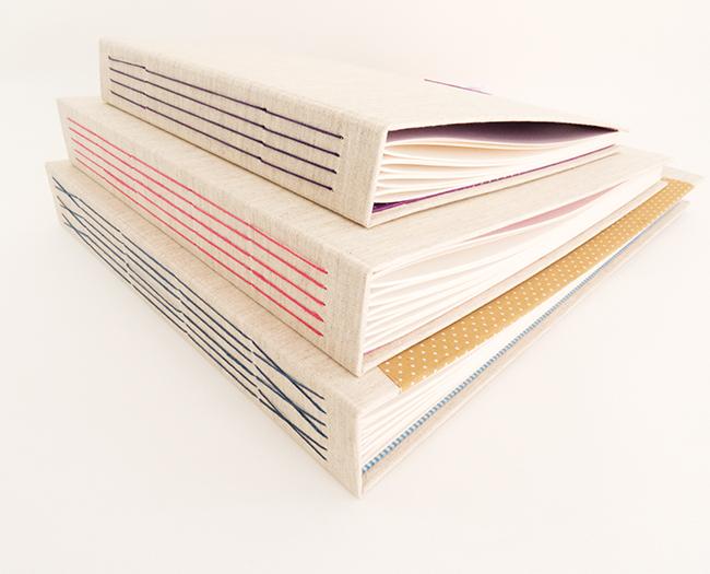 encuadernación cosido visto o long stitch para álbumes infantiles