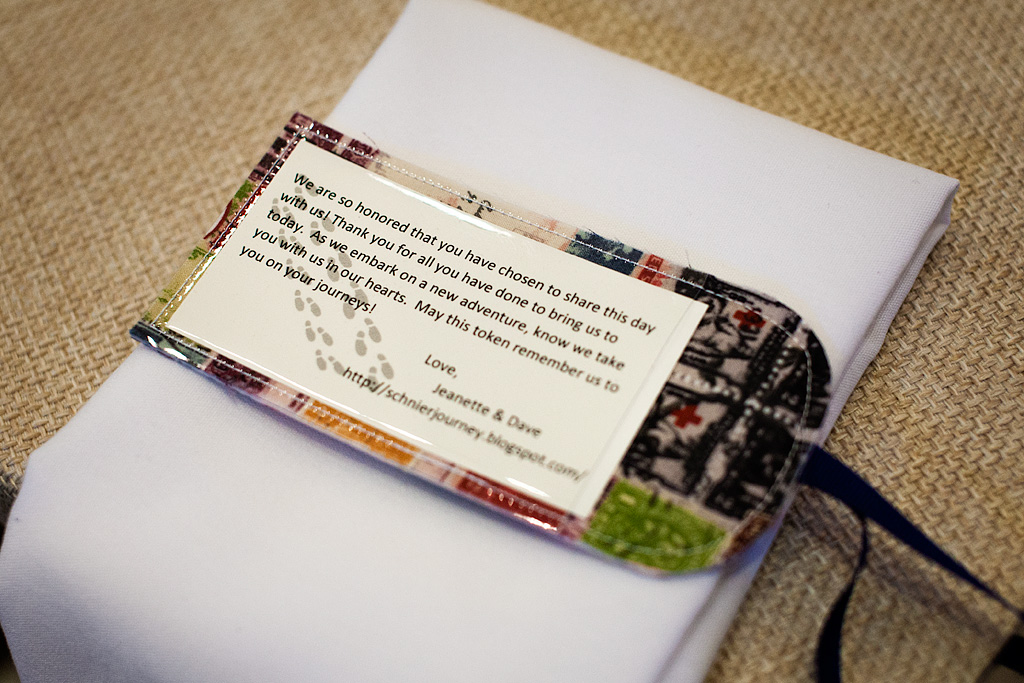 Luggage tag wedding favor, Virginia Wedding