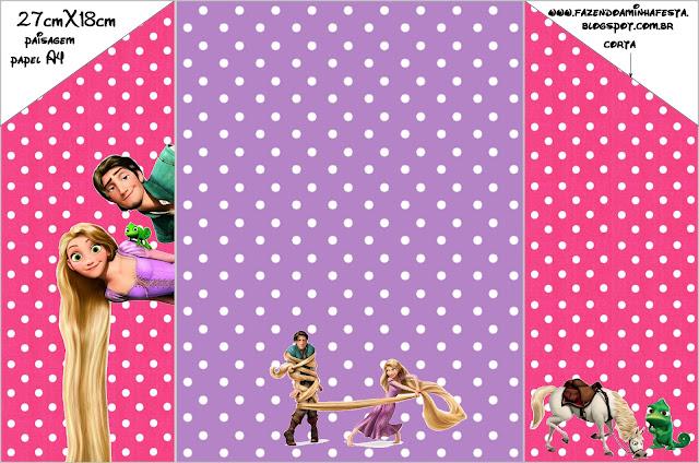 Sobre de invitación de Enredados (Rapunzel) para imprimir gratis.