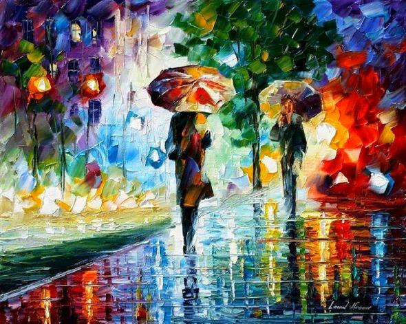 Leonid Afremov pinturas a óleo impressionista chuva outono noite cidade
