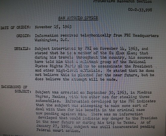 11/15/63 threat...corroboration for FBI Clerk William Walther?