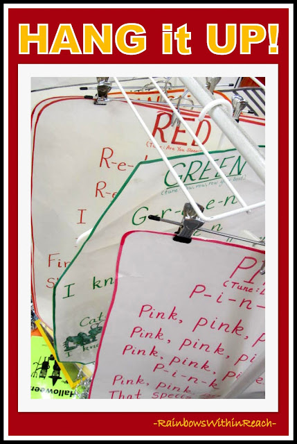 photo of: Anchor Charts for Color Piggyback Songs (Hanging on Hangers) via RainbowsWithinReach