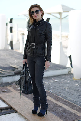 Peuterey jacket, leather, fringes and studs