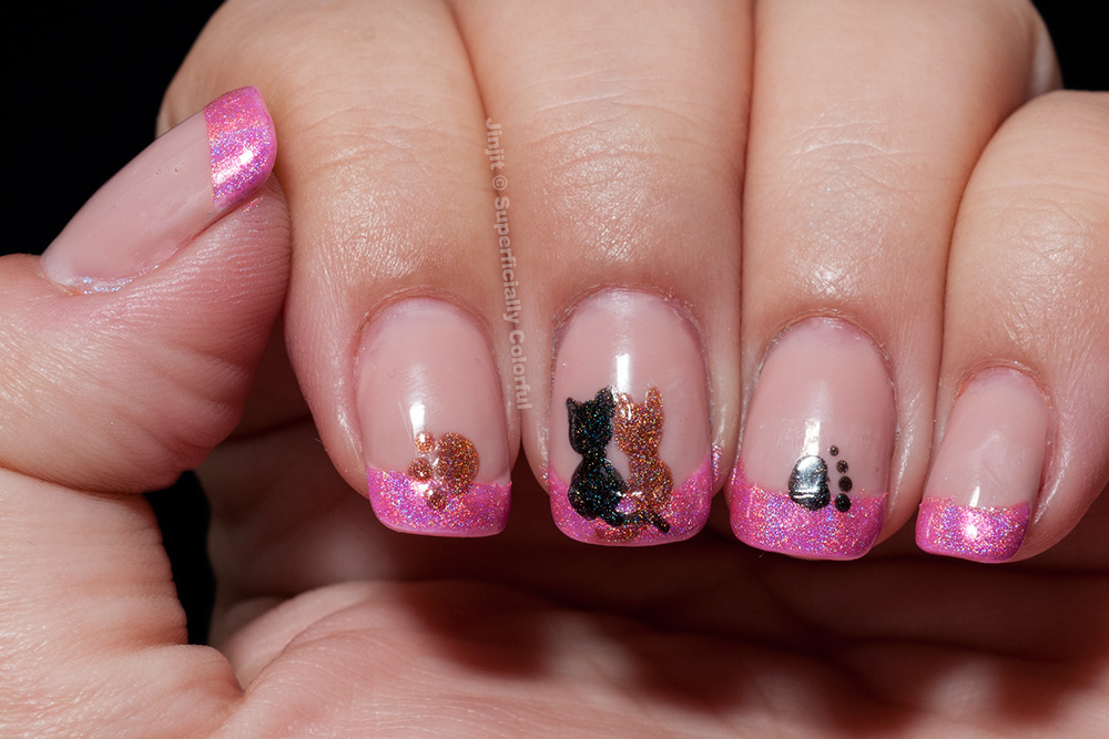 Cats in love nail art tutorial