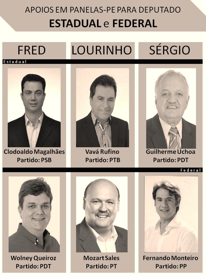 Esses são as escolhas para Deputado de: Fred (ex-prefeito), Lourinho (oposição) e Sérgio Miranda (prefeito) em Panelas-PE