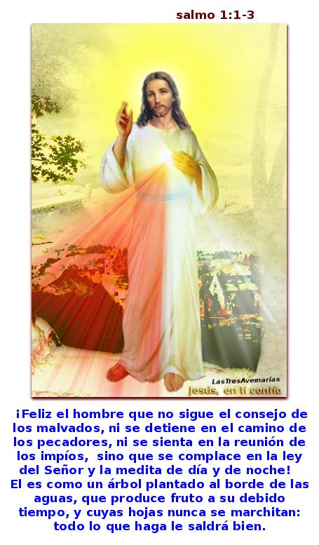 divina misericordia con el salmo  capitulo 1 versiculo 1 al 3