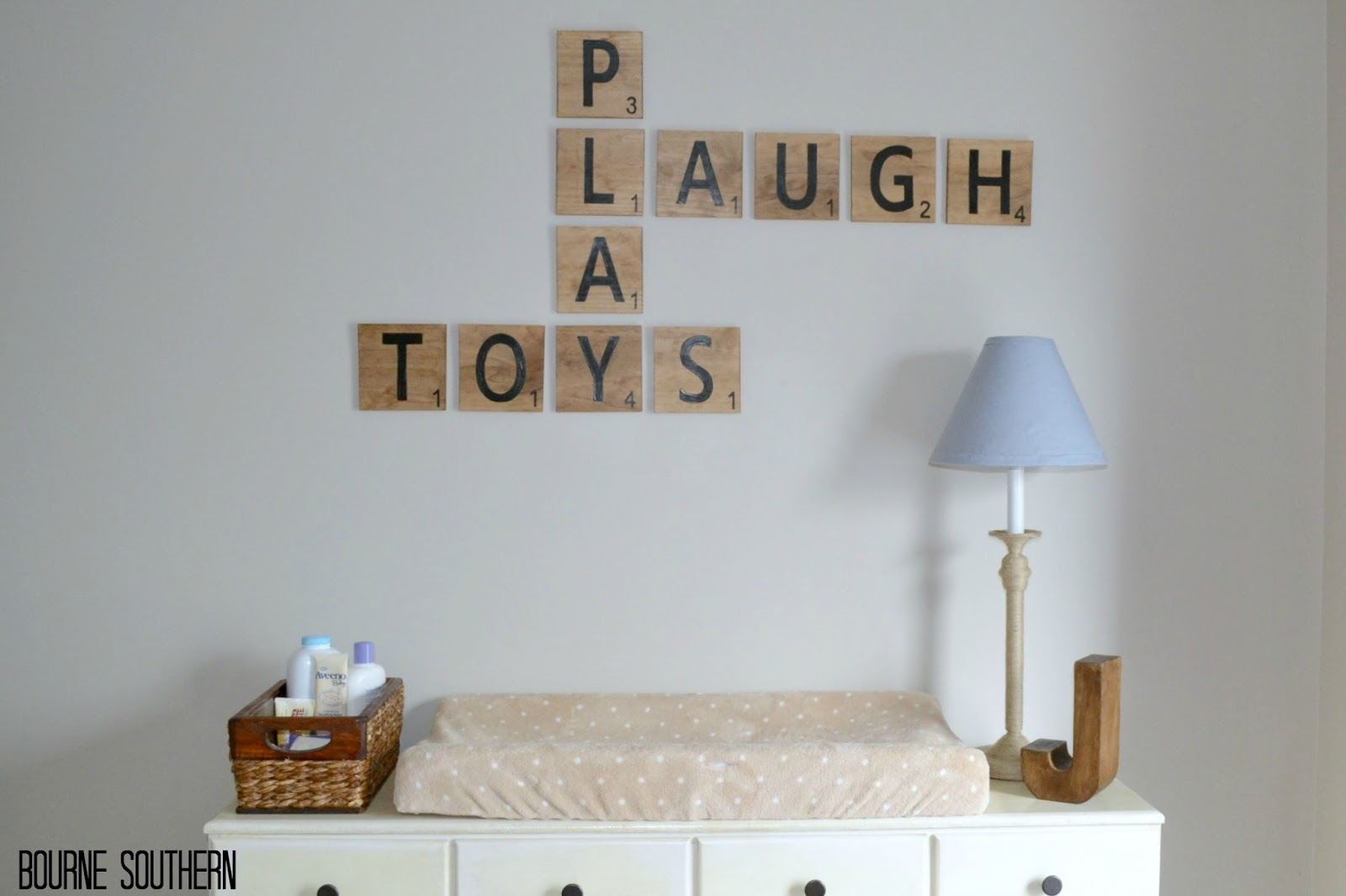 Bourne southern diy jumbo scrabble tile wall decor - Scrabble decoracion ...