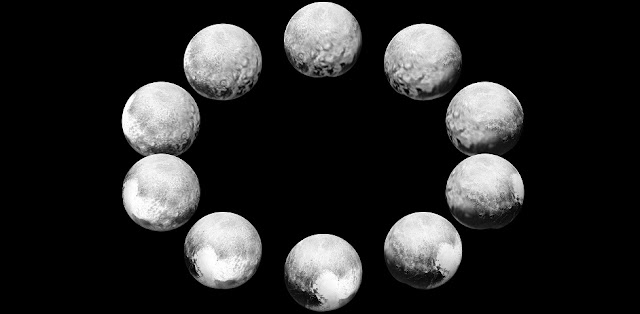 "In July 2015, the cameras on NASA's New Horizons spacecraft captured Pluto rotating over the course of a full ""Pluto day."" The best available images of each side of Pluto taken during approach have been combined to create this view of a full rotation.  Credit: NASA/Johns Hopkins University Applied Physics Laboratory/Southwest Research Institute"