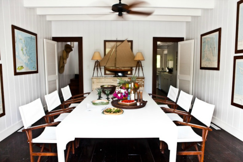 dining room we love the white table and teak directors chairs they