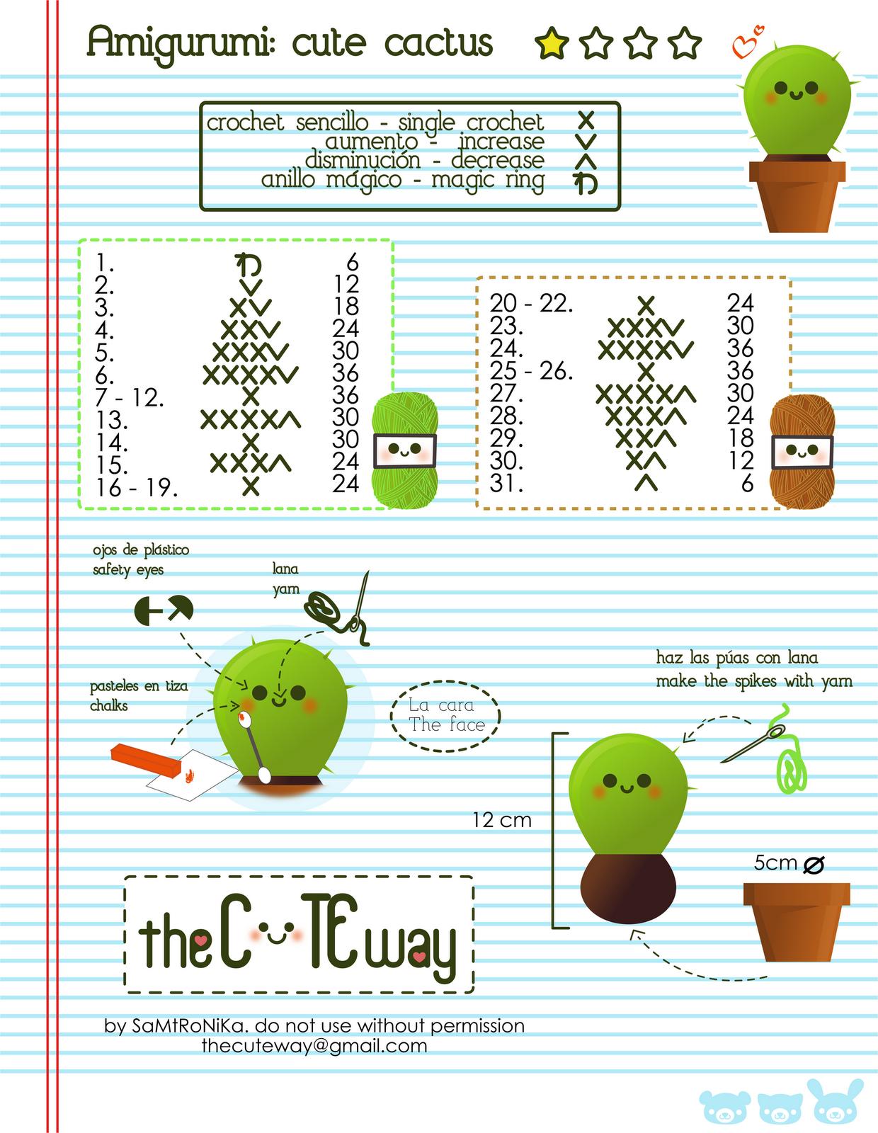 Amigurumi Tutorial Principiantes : RANDOM LITTLE ME: .:Cute Cactus:. patron/pattern amigurumi
