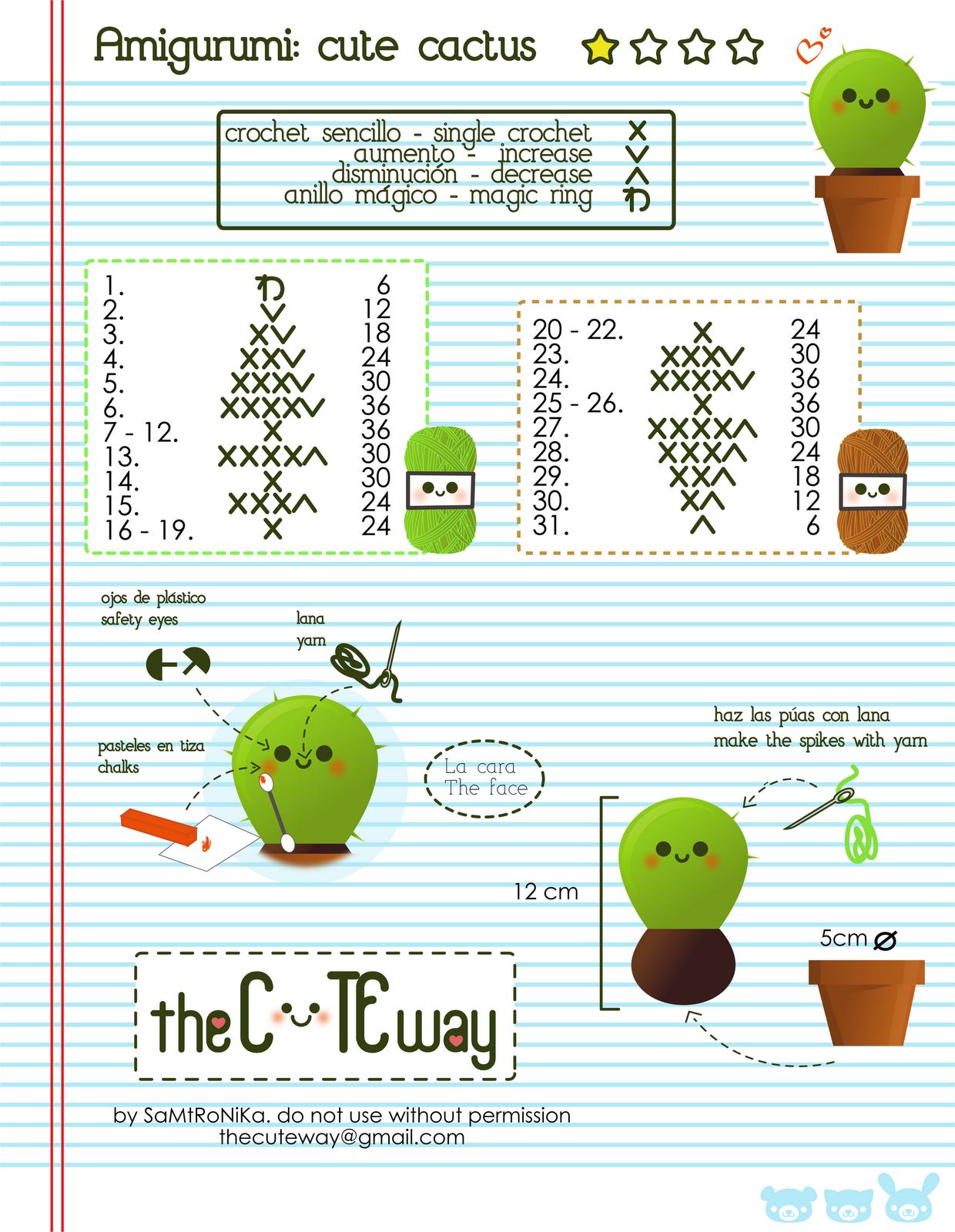 Amigurumi Kawaii Patrones : RANDOM LITTLE ME: .:Cute Cactus:. patron/pattern amigurumi