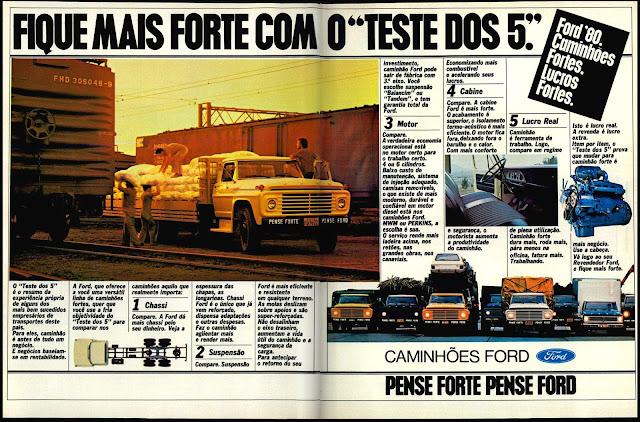 propaganda caminhões Ford - 1979.  propaganda de carros annos 70. reclame anos 70. oswaldo hernandez.