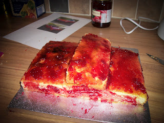 Jam covered cake