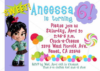 Vanellope Von Shweetz (from Wreck it Ralph) Invitations and Party