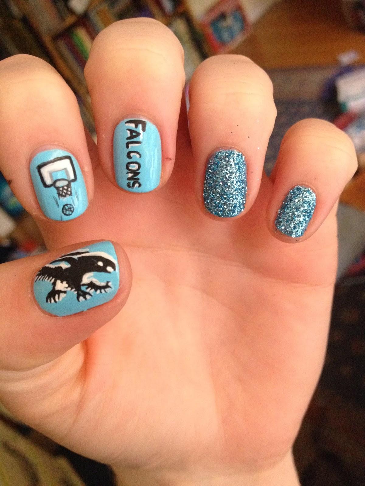 WeeklyWackyNails: Falcon Basketball nail art