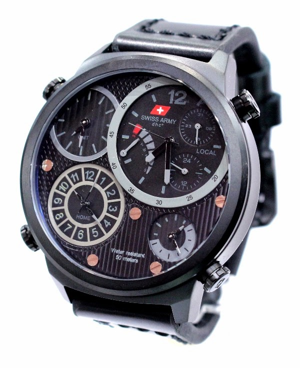 Swiss army 26623 all black hitam 4 waktu