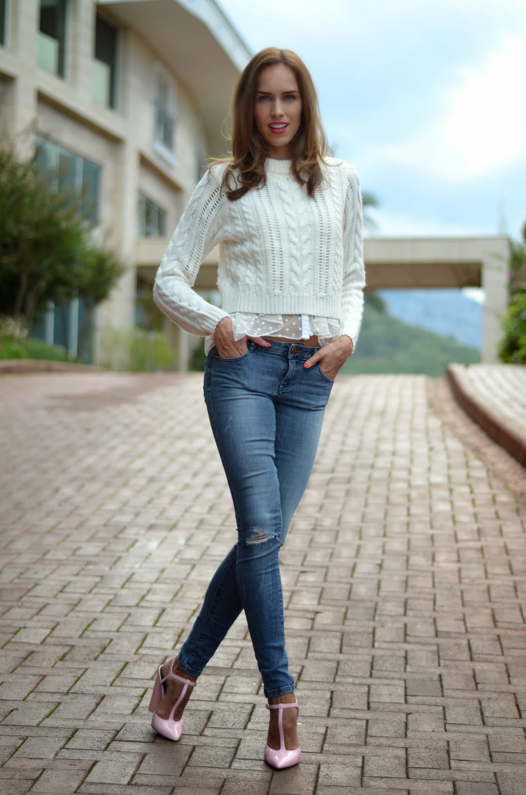 white-gina-tricot-jumper-blue-zara-jeans-pink-shoes kristjaana mere