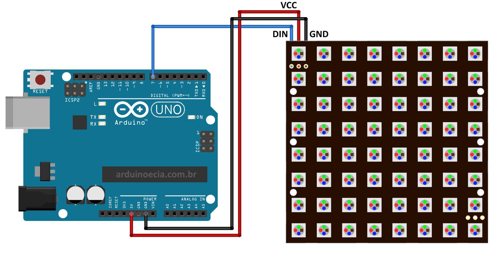 Arduino com painel de led rgb e anel ws