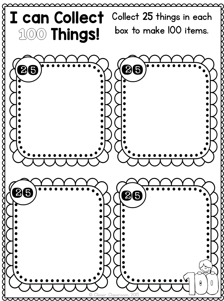 100th day printables and a freebie