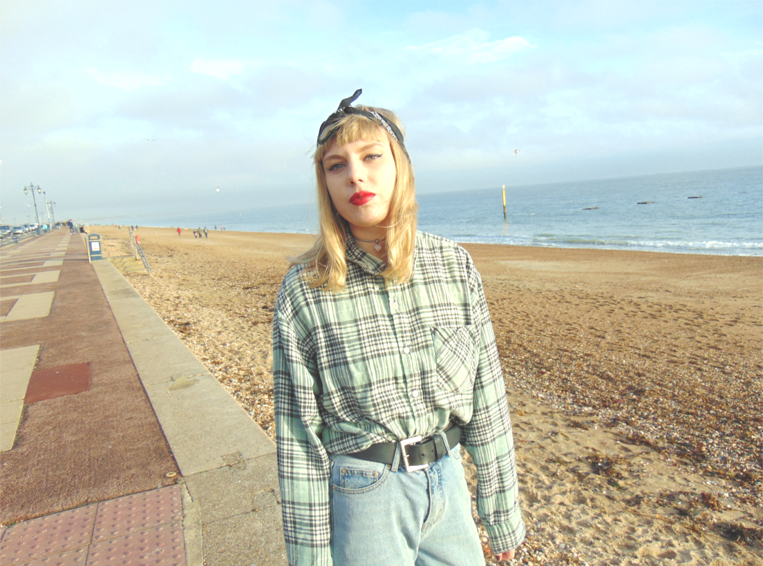 check shirt, cheap monday urban outfitters jeans, vintage inspired outfit ootd, vintage plaid shirt, retro alternative style fashion inspiration, bandana, nike air force 1