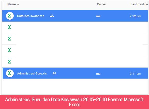 Administrasi Guru dan Data Kesiswaan 2015-2016 Format Microsoft Excel