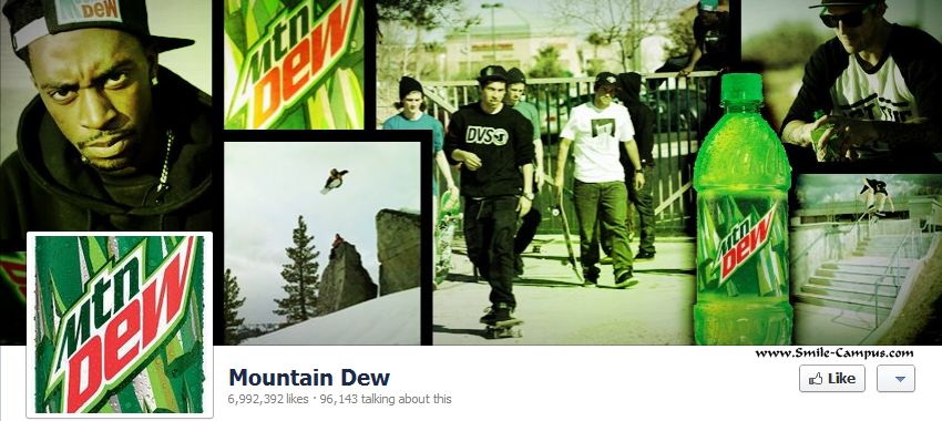 Facebook page of Mountain Dew