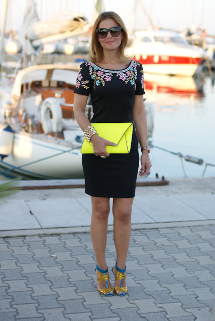 summer elegant outfit, black beaded dress, bodycon dress, Icone shoes, Chi Chi regina dress, neon yellow clutch, Fashion and Cookies