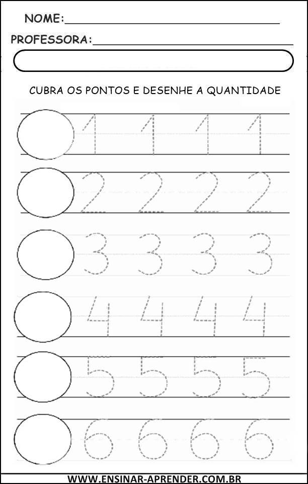 Extremamente ESCRITA DE NUMERAIS 1 A 9 – PONTILHADO | Cantinho do Educador Infantil QZ87