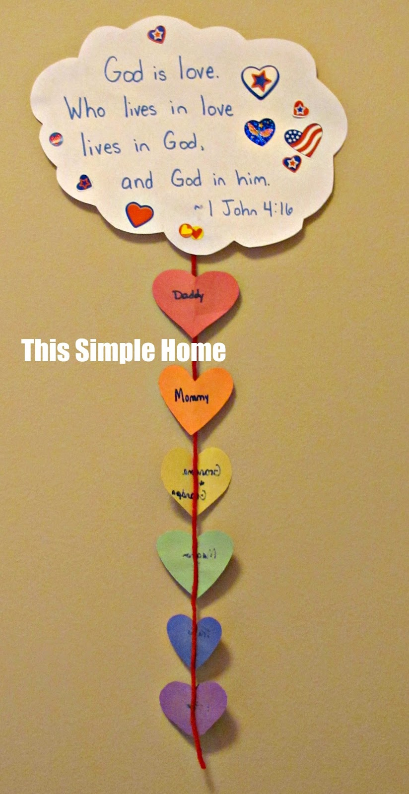 This simple home love rainbow craft for Bible school crafts for toddlers