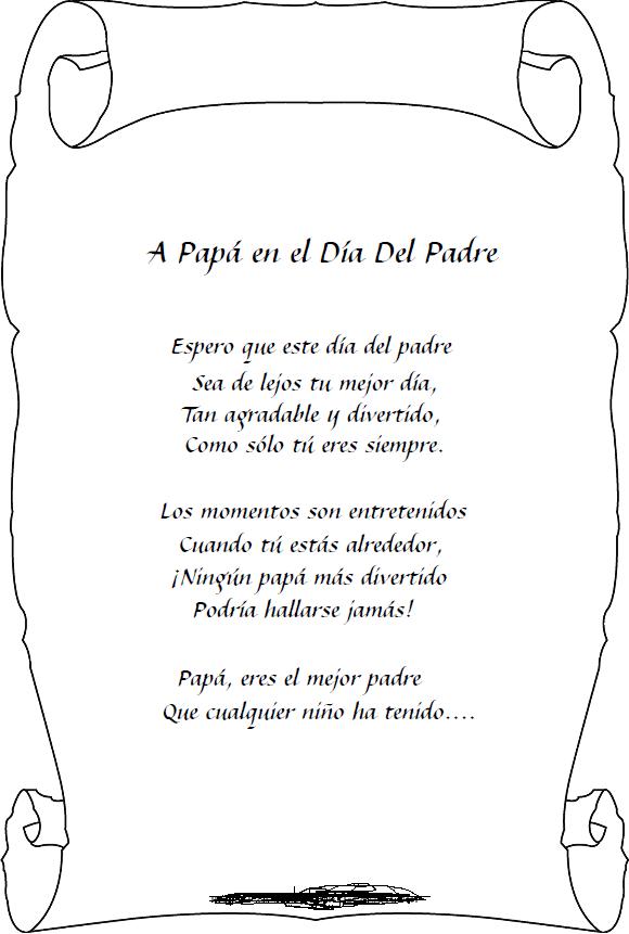 Este Poema Del D  A Del Padre Cortos Para Ni  Os Para Colorear