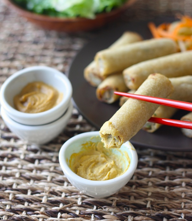 Chinese Hot Mustard Dipping Sauce with spring rolls by SeasonWithSpice.com